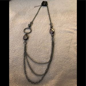 Paparazzi long gunmetal/black necklace